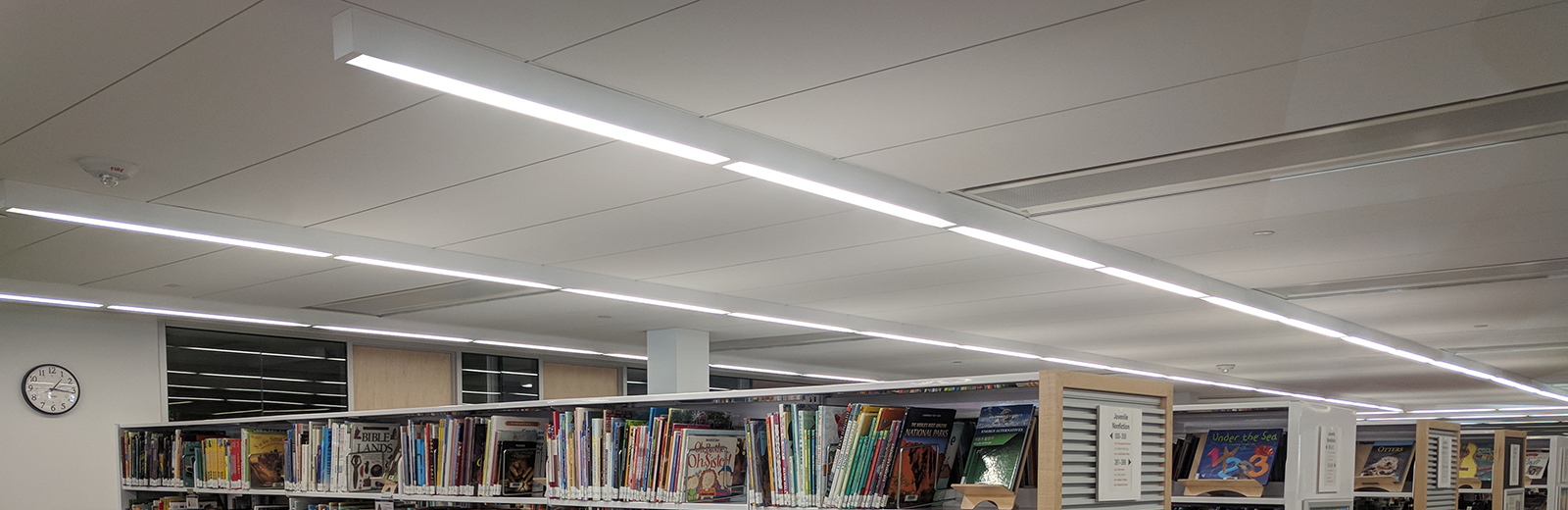 LED lighting in the library