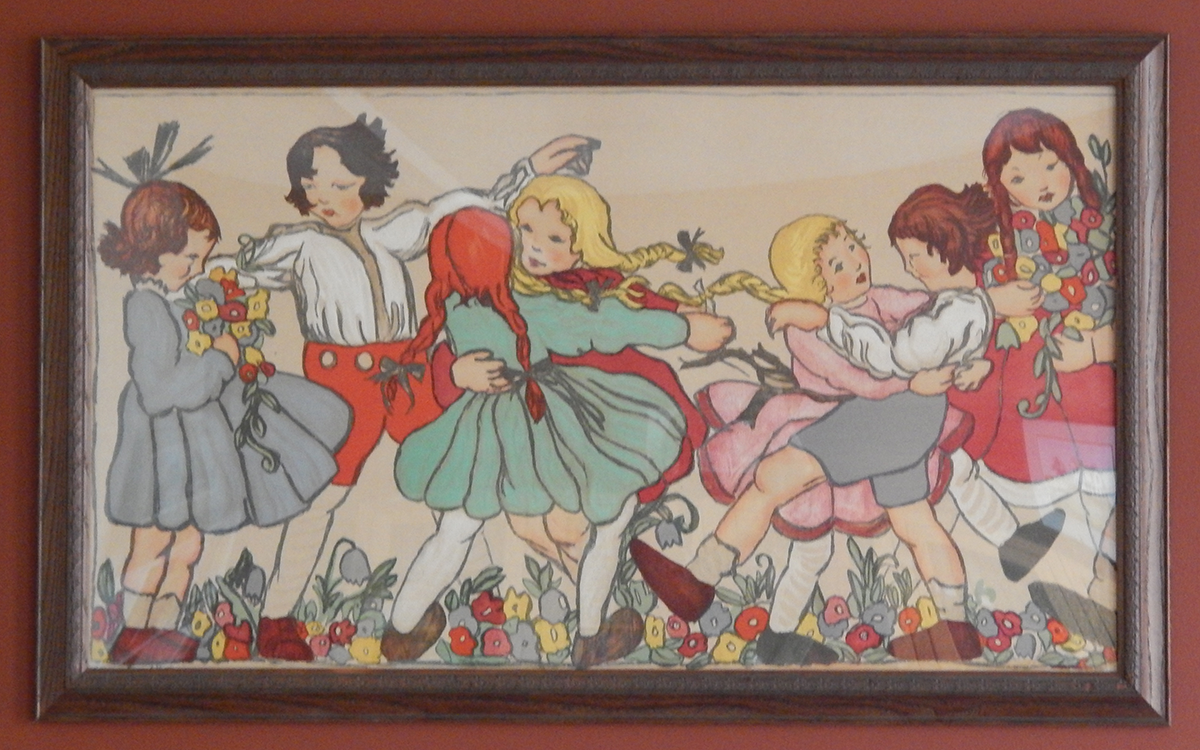 Crawford art piece depicting young children dancing amidst flowers