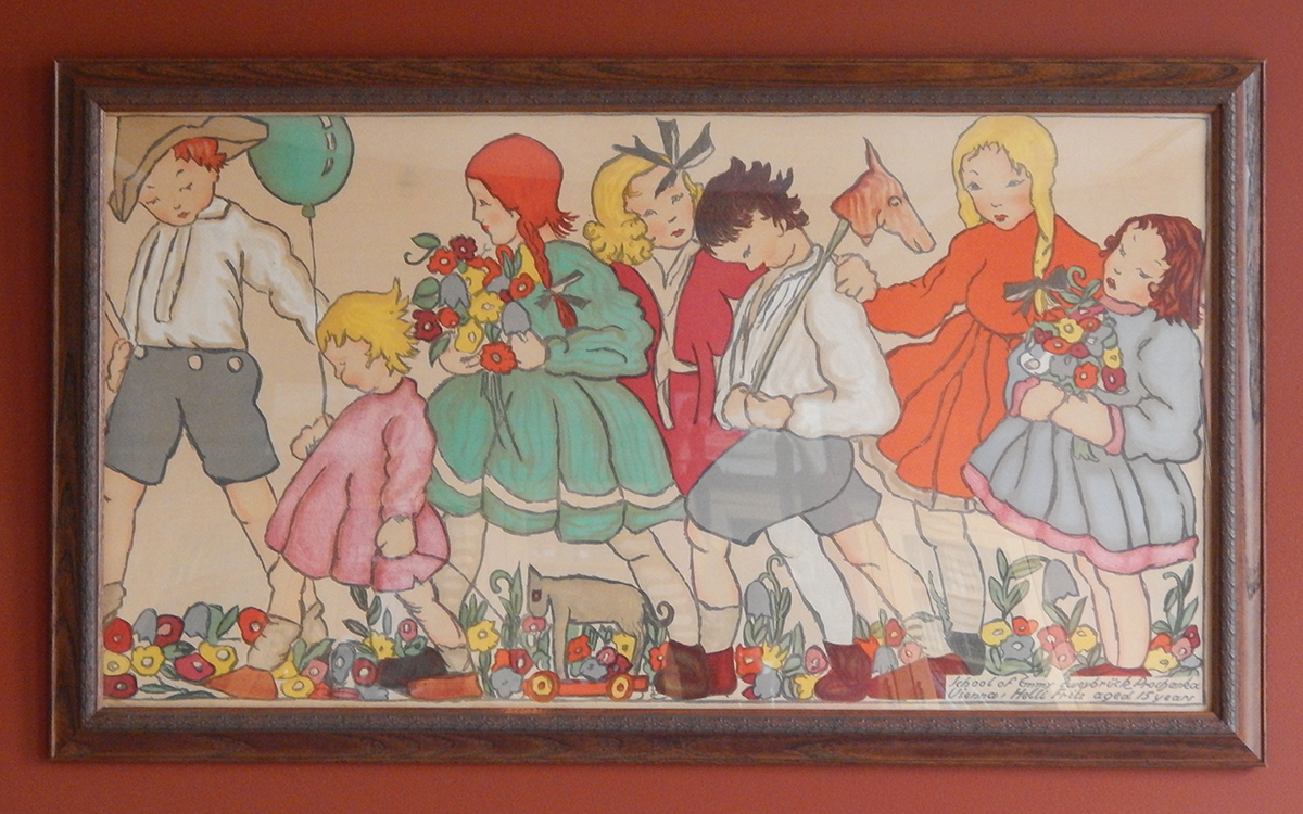 Crawford art piece depicting young children walking together