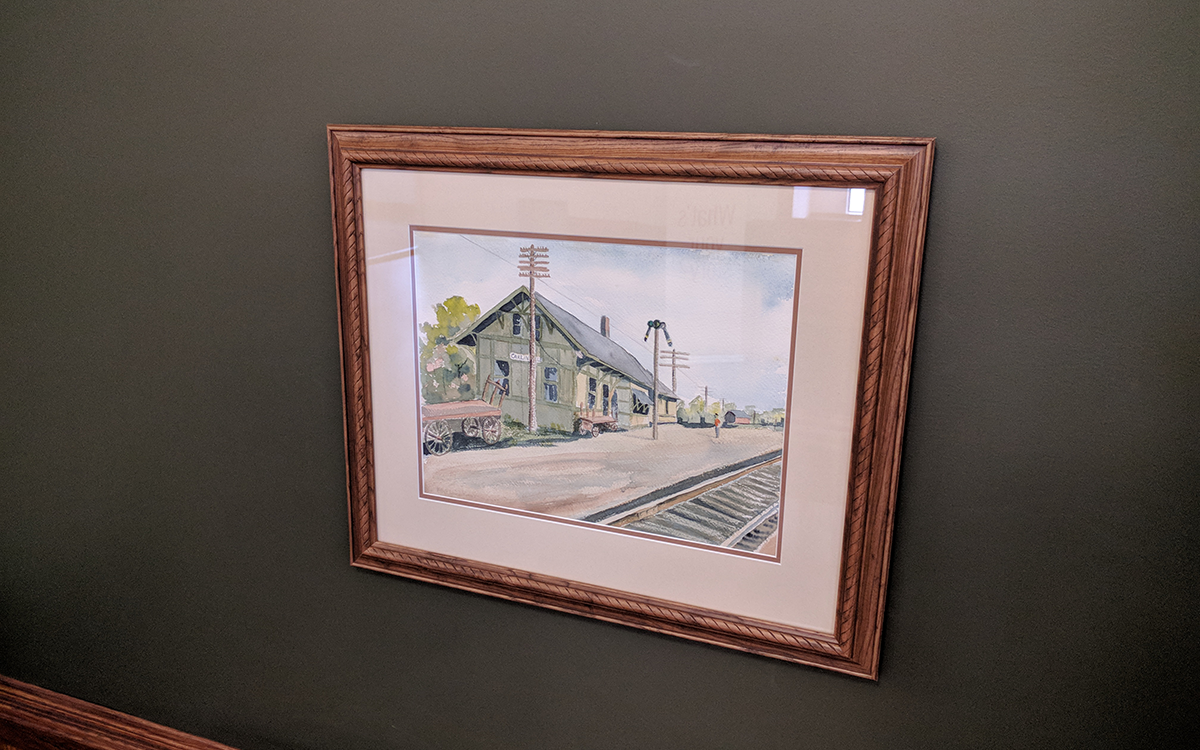 painting of the GM&O train station in Carlinville, IL