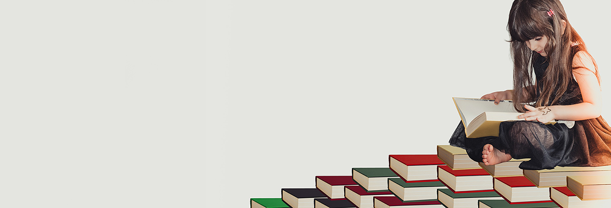 Girl sitting on books graphic
