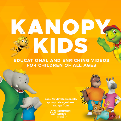 Text Kanopy Kids on an orange background surrounded by graphics of Babar the elephant, Franklin the Turtle and others