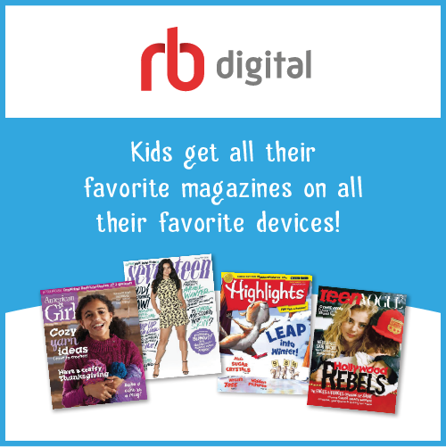 RB digital logo above text and pictures of popular magazines for youth on blue background