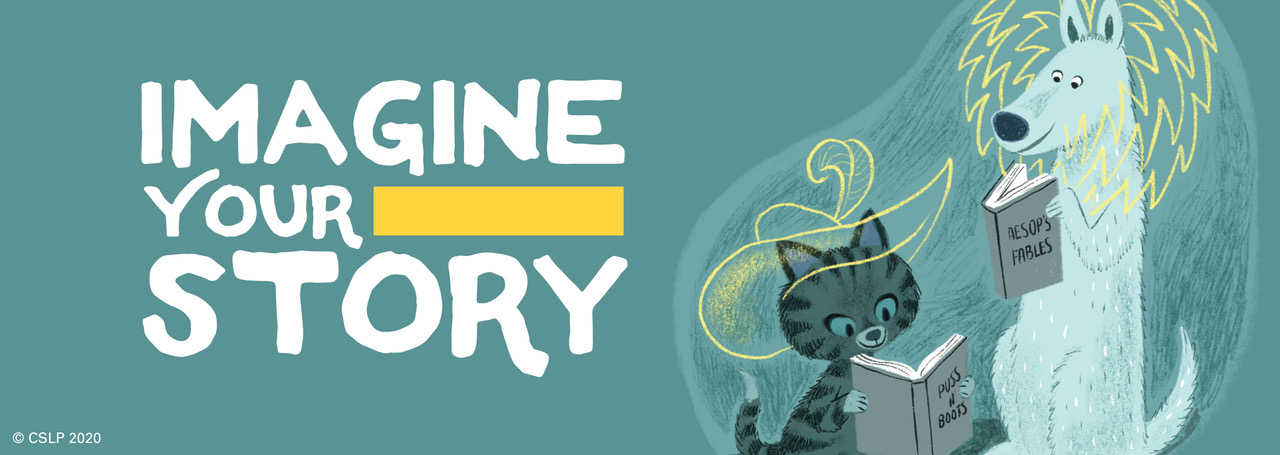 "Illustrated dog and cat reading stories next to ""Imagine Your Story"" Logo on a green blue background"