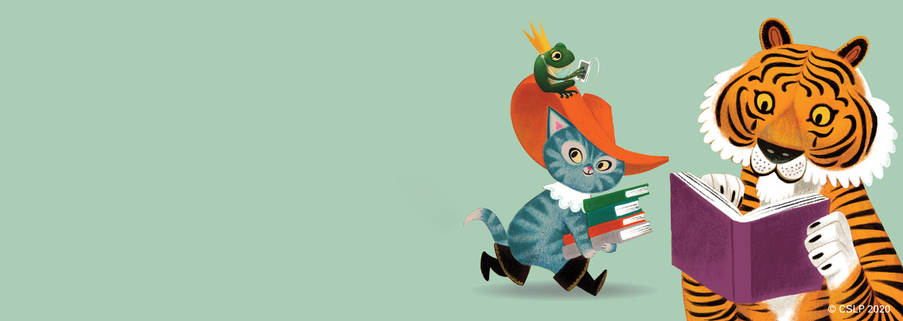 Illustrations of Puss in Boots, the frog prince and a tiger with books on a green background