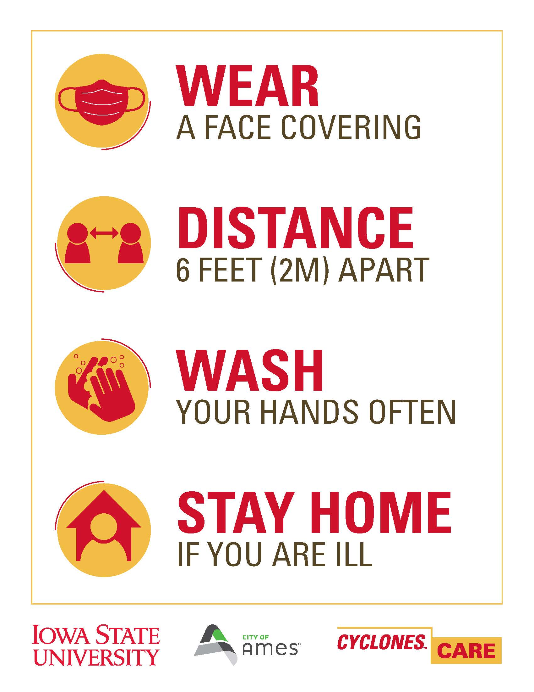 Cyclones Care. Wear a face covering. Distance 6 feet (2m) apart. Wash your hands often. Stay home if you are ill.