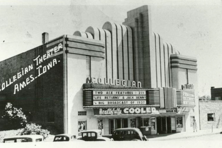Black and white picture of the Collegian Theater in Ames, Iowa