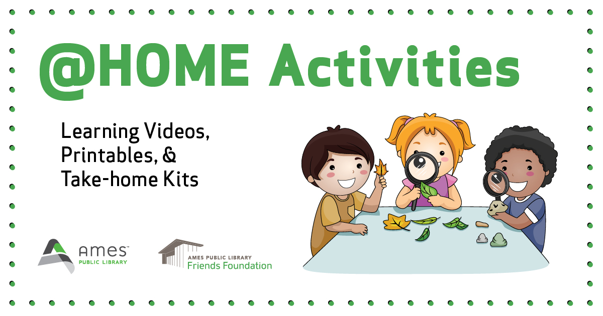 @HOME Activities graphic of kids with leaves and magnifying glasses