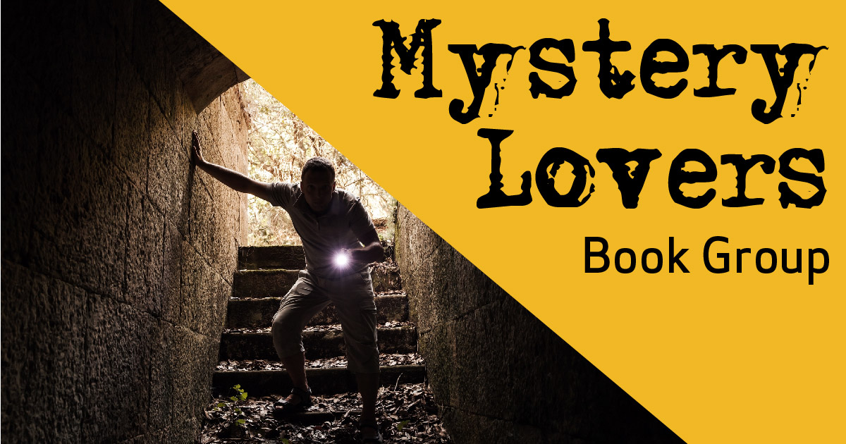 Mystery Lovers Book Group graphic with photo of man with flashlight