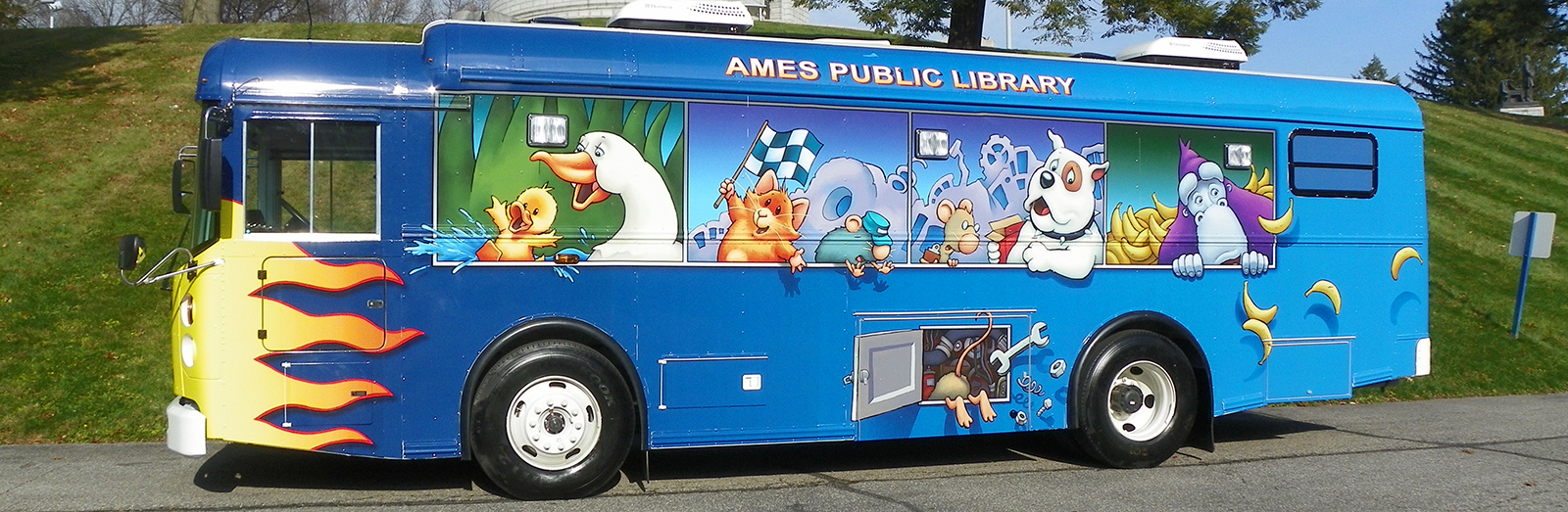 Bookmobile parked on sunny day
