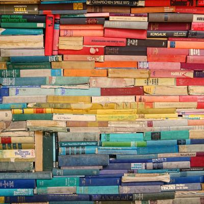 Photo of a Colorful Wall of Books