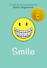 "Book cover for Telgemeier's ""Smile"""