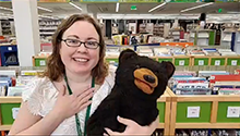 Dewey Bear and Librarian at Ames Public Library