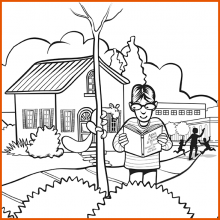 Coloring Page 1 Thumbnail - Boy Reading with Squirrel