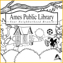 Coloring Page 3 Thumbnail - Man and Girl by Ames Public Library Sign