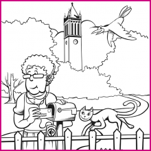 Coloring Page 4 Thumbnail - Woman with Animals and Campanile