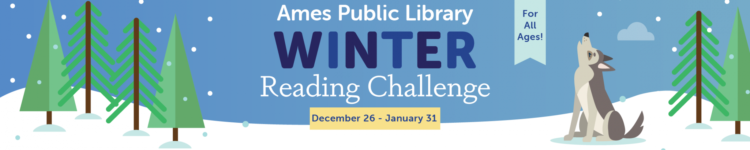 Graphic of howling wolf in the snow with the Winter Reading Challenge Title