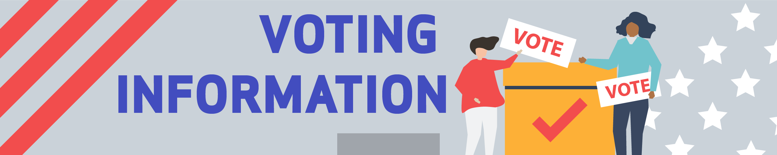 """Voting Information Slide with people holding """"vote"""" signs in front of a voting booth"""