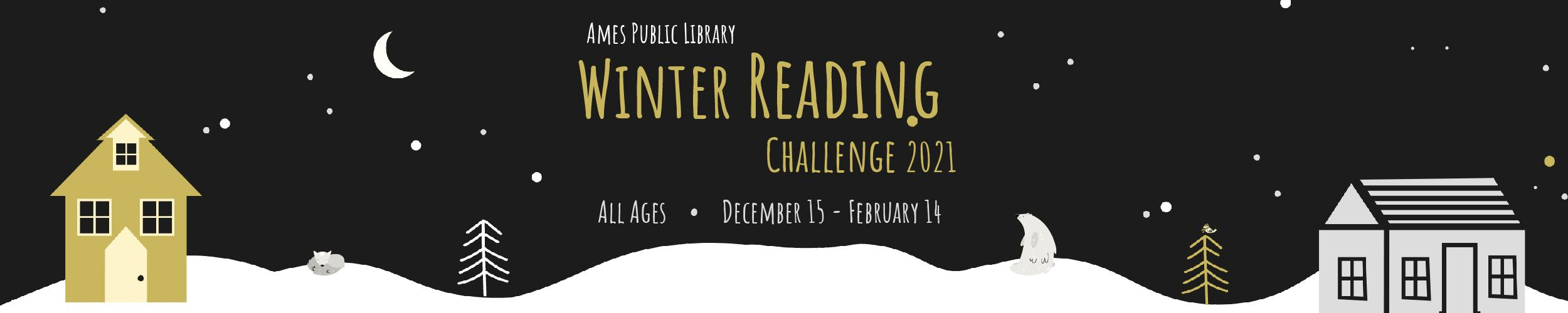 Winter Reading Challenge 2021 slide with graphics cozy winter landscape