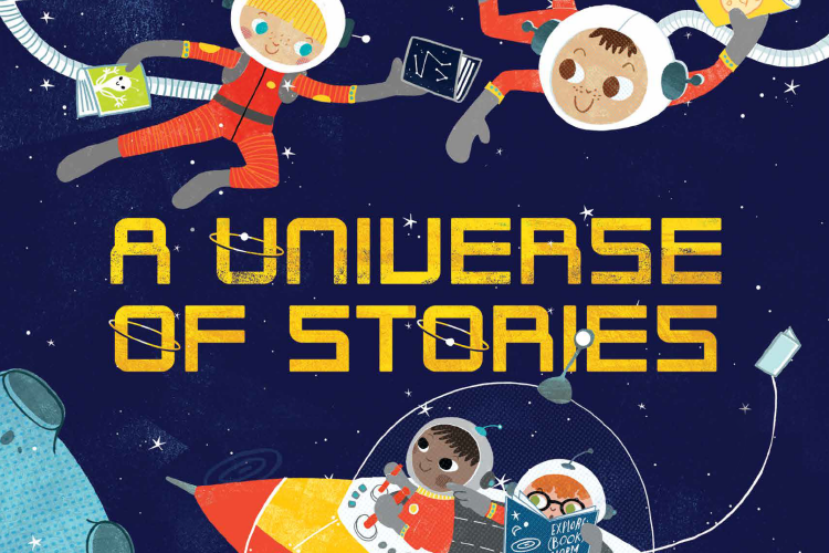 Graphic of kids in a space ship with Summer Reading Program slogan