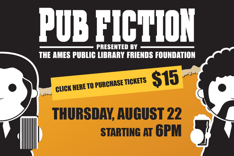 Pub Fiction Event advertisement with graphics of characters