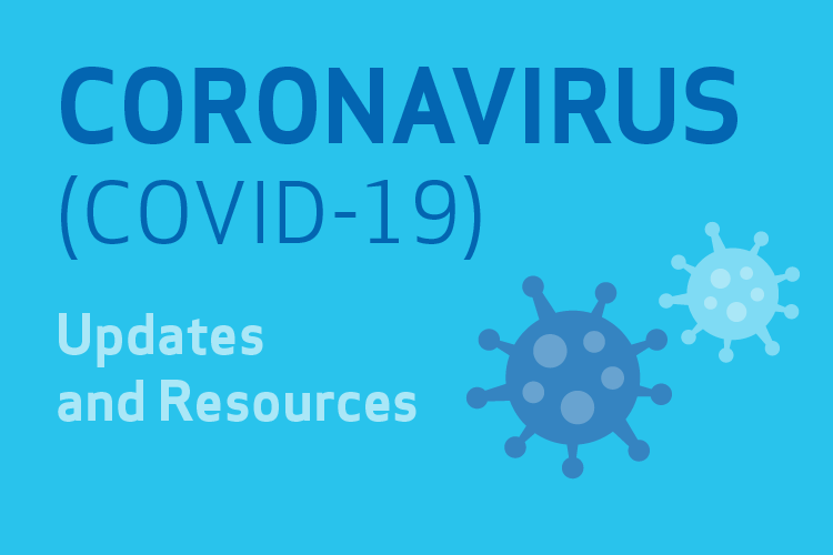 Text that says Coronavirus updates and resources next to virus clipart on a blue background