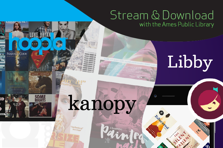 Swirls with black fill next to swirls with graphics for Hoopla, Kanopy, and Libby stream and download services
