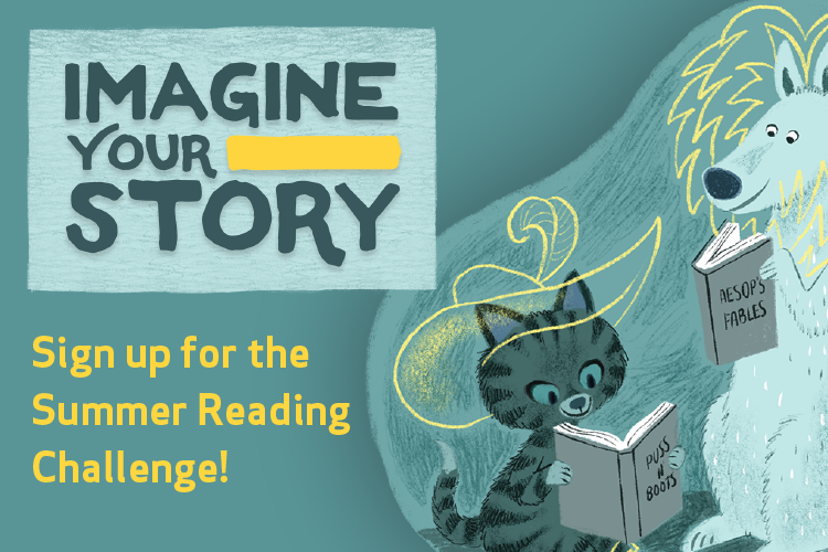 "Illustrations of people and animals reading stories with the ""Imagine Your Story"" Slogan on a blue background"