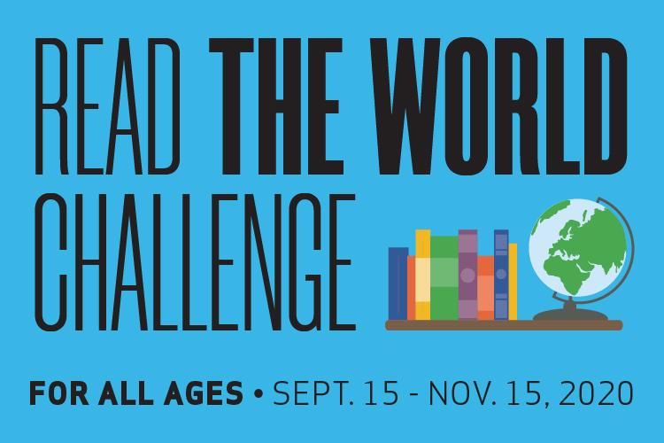 Read The World Challenge with vector graphic of a globe next to books